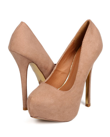 Qupid Mady-56A- Women Faux Suede High Heel Pump-Taupe-SHG