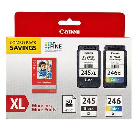 Cannon 8278B005 Ink Cartridge Paper Kit Combo Pack 246BlackXL/246ColorXL