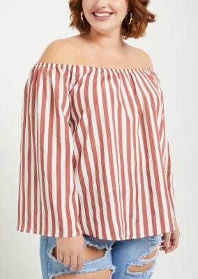 68b0bc4e39b Rue21 Women Plus Pink Striped Bell Sleeve Off Shoulder Top-SHG/SHW ...