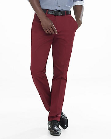 Express Men 3184 Photographer Slim Fit Red Dress Pants-MT