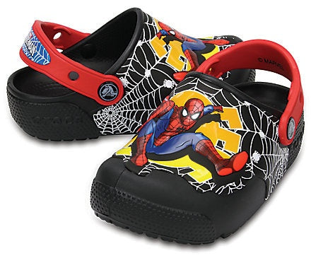 Crocs 204136-001 Kids Fun Lab Lights Spider-Man Clogs Black-MT