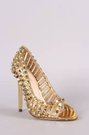 Liliana Roma-16 Women Studded Caged Peep Toe Stiletto Heel Pump Gold-SHG
