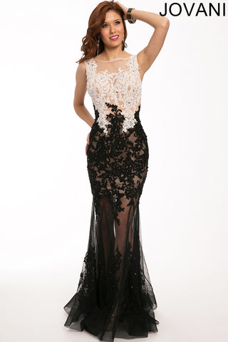 Jovani 22441A Women Gorgeous sleeveless two-toned lace dress features a sheer neckline-GL