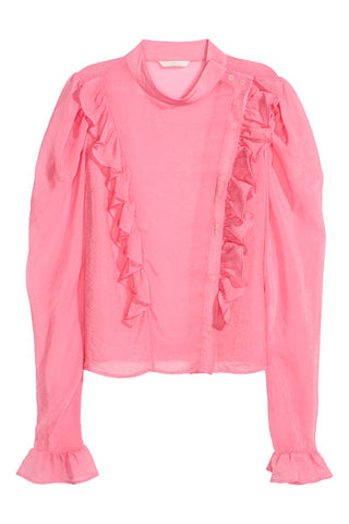 H&M 1522/1 Women Puff-sleeved Ruffled Blouse Pink-SHG/SHW