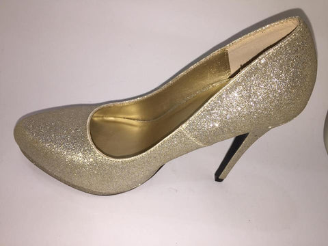 My Delicious Carnie-s Champ Glt Gold Glitter Round Toe Dress High Heel Shoe - SHW