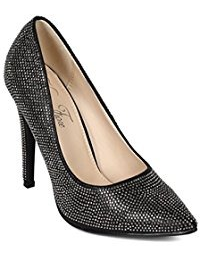 Liliana Selina-33 Women Slip On Pointy Toe Heel Shoe Black-SHG/SHW