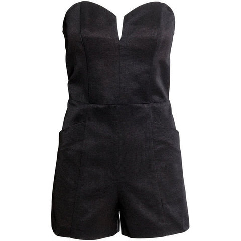 H&M 1722/1- Ladies Strapless Playsuit-Black-SHG/SHF