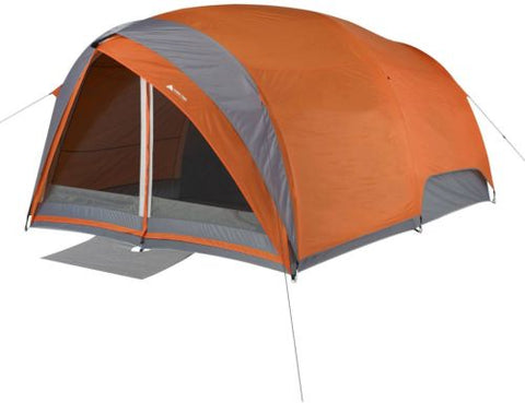 Ozark Trail 8-Person Dome Tunnel Tent With Maximum Weather Protection Orange/Grey