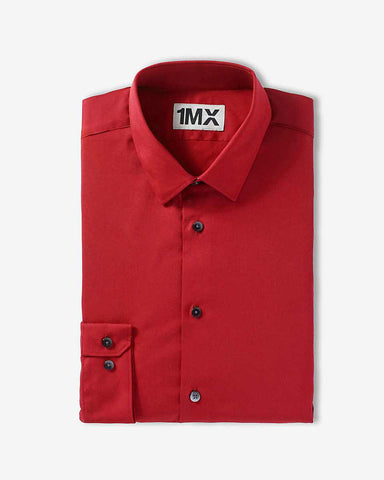 Express 9454 Men Fitted Longsleeve Shirt Red-GL