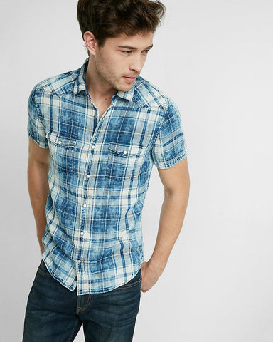 Express 01692888 Men Short Sleeve Washed Plaid Shirt Blue/White-SHW