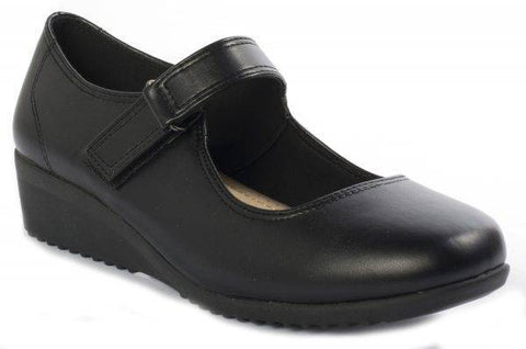 Pierre Dumas Relax-16 Black Small Heel School Shoe Black-MT/SHG/SHW