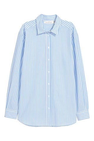 H&M 1510/1 Women Longsleeve Cotton Shirt Light Blue/White Striped-SHW