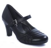 Pierre Dumas Addison-2- Women  Round Toe Wedge Heel Over Strap Buckle Shoe Black-SHW/SHG