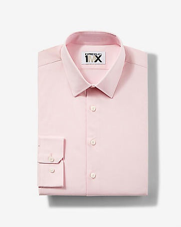 Express 00302151 Men Extra Slim Fit 1MX Longsleeve Shirt Baby Pink-SHG