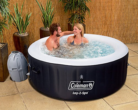 Intex Coleman Lay-Z-Spa Jet & Bubble Deluxe Portable Hot Tub, Octagon Onyx Black