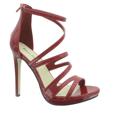 Pierre Dumas Sexy-10 Women Open Toe Strappy Ankle Strap High Heel Shoe Red-SHW