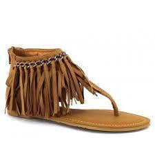 Pierre Dumas Lily-21 Chain and Fringe Detail Sandals - New Tan-MT