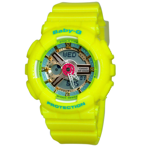 Baby G BA110CA-9A-Women Casio Digital Analog Yellow Sport Watch-GL