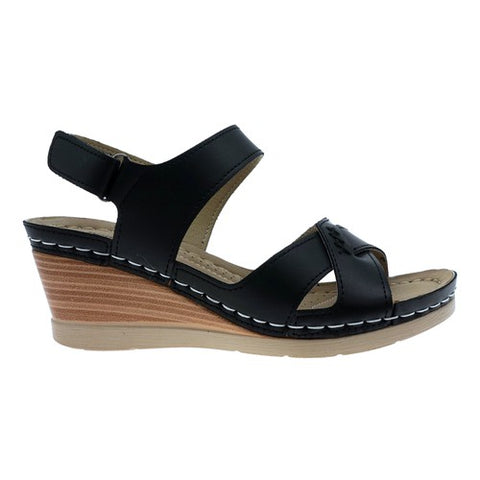 Pierre Dumas Halle-4 Women Open Toe Wedge Sandal Black-SHW