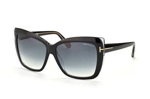 Tom Ford Irina TF390 01B-Women Square Sunglass Black/grey Gradient-GL