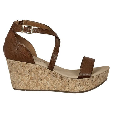 Pierre Dumas Natural-13 Strappy Wedge Heel Ankle Strap Sandal Whiskey-SHW