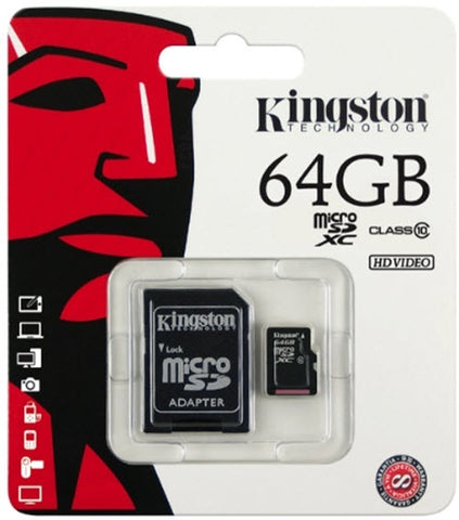 Kingston 64GB Micro SD Card (SDHC) +Adapter