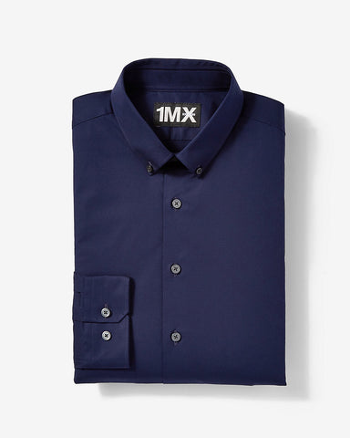 Express 00302576 Men Fitted 1MX Longsleeve Shirt Navy Blue-SHW