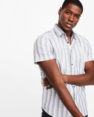 Express 01692945 Men Striped Short Sleeve Shirt Sage-SHG