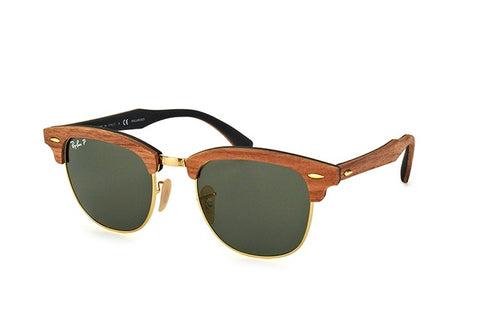 Ray-Ban Unisex RB3016m 118158 Clubmaster Wood Polarized Sunglass - GL
