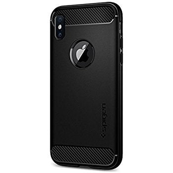 Spigen Rugged Armor iPhone X Case with Resilient Shock Absorption and Carbon Fiber Design-Black