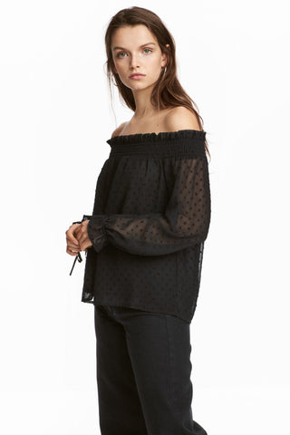 H&M 1543/1 Women Off-the-shoulder Blouse Black-SHF/SHG/SHW