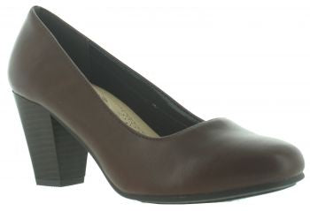 Pierre Dumas Softflex-1 Women Round Toe Over Strap Fudge Heel Shoe Whiskey -SHG