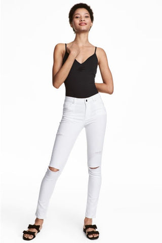 H&M 1722/1-Women Skinny Super Stretch Jeans White Denim-SHG/SHF/SHW