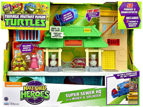 Teenage Mutant Ninja Turtles Half Shell Heroes Super Sewer HQ with Mikey & Splinter Action Figure, Age 3+