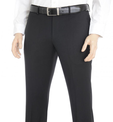 Express Men 1314 Producer Modern Fit Solid Black Suit Pants-GL