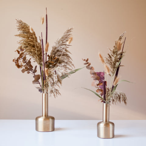 Dried Floral Duo in Gold Bud Vase