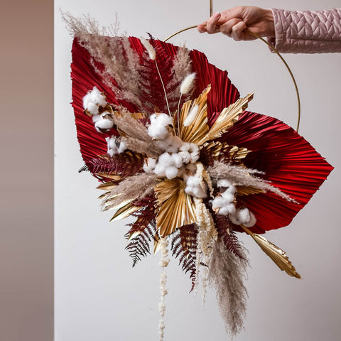 Red and gold indoor wall hanging wreath