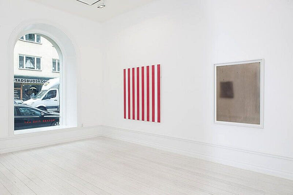 From Left: Daniel Buren, Untitled, 1972, Acrylic on canvas, 54.3 x 51.4 in (138 x 130.5 cm);