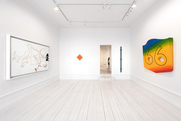 From left: Nicholas Hlobo, Wazibelek emhlane izithende, 2013, ribbon, rubber on canvas, 47.2 x 70.8 x 1.9 in. (120 x 180 x 5 cm). Lucio Fontana, Concetto Spaziale, Attese, 1963-64, waterpaint on canvas, 16.7 x 16.7 in. (42.5 x 42.5 cm). Dianna Molzan, Untitled, 2015, oil on canvas, 72 x 5 x 2 1/2 in. (182,9 x 12,7 x 6,4 cm). Blair Thurman, Road Trippin' Rte. 66 (Westworld), 2016, acrylic on canvas on wood, 53.5 x 54 x 8.3 in. (135.9 x 137.2 x 21 cm).