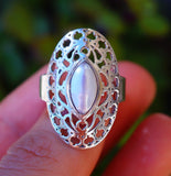 Fancy River Pearl set in Solid 925 Sterling Silver Ring size 8