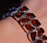 Beautiful Genuine Honey Topaz set in Solid 925 Sterling Silver Bracelet