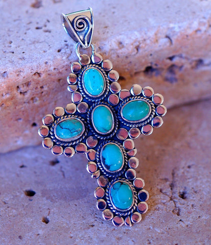 Genuine Santa Rosa Turquoise Cross set in Pure 925 Sterling Silver Pendant