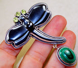 Carved Hematite Dragonfly with Malachite, Peridot & 925 Sterling Silver Pendant