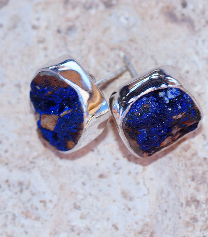 Blue Cobalt Druzy & 925 Sterling Silver Earrings