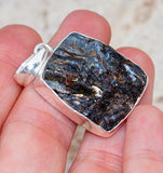 Genuine Russian Asthrophillite set in Solid 925 Sterling Silver Pendant