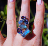 Wonderful Labradorite, Mystic Fire Topaz in Pure 925 Sterling Silver Ring size 6
