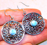 Fancy Dominican Larimar set in Solid 925 Sterling Silver Earrings