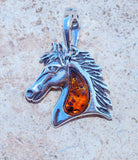 Cognac Baltic Amber Horse set in Solid 925 Sterling Silver Pendant
