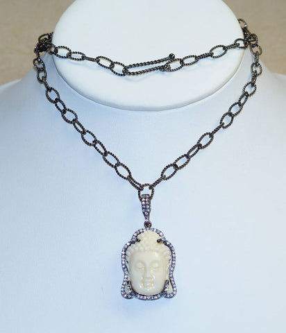 Carved Camel Bone Buddha Face & CZ Set in 925 Solid Sterling Silver Rhodium Overlay Necklace