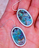 Beautiful Chrysocolla & 925 Sterling Silver Earrings